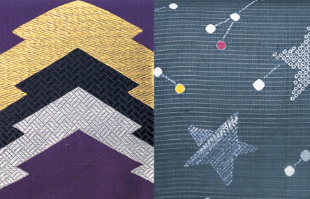 Kimono patterns of lightning and stars