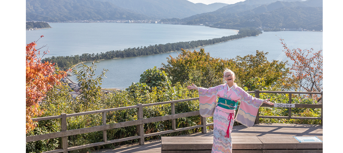 Cliffe posing in front of Amanohashidate in Kyoto